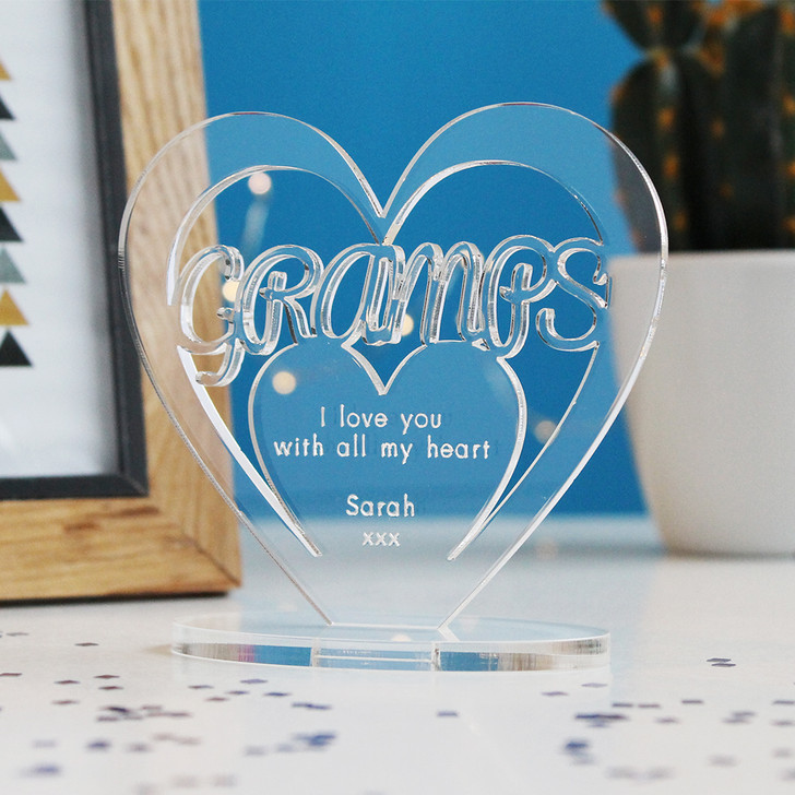 GRAMPS Personalised Birthday HEART Plaque Gift For Him Keepsake Ornament Christmas Present