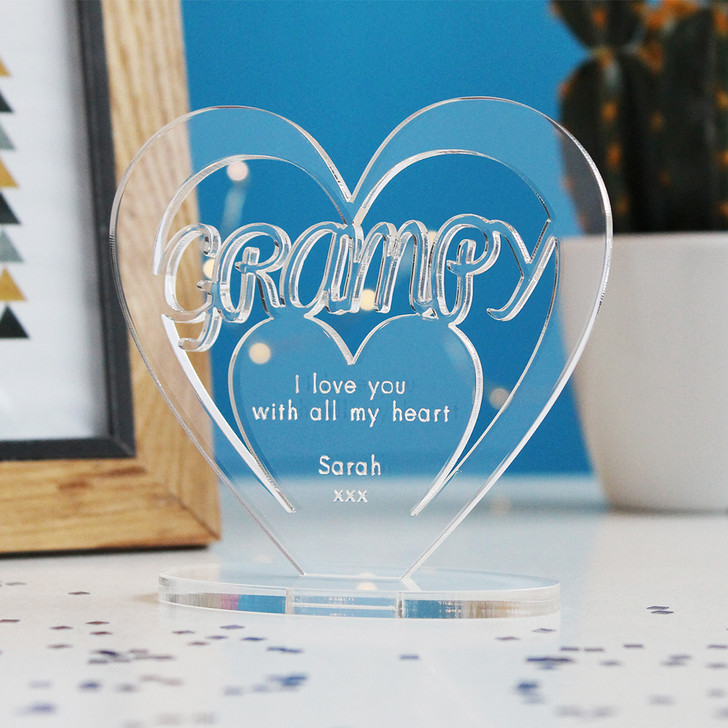 GRAMPY Personalised Birthday HEART Plaque Gift For Him Keepsake Ornament Christmas Present