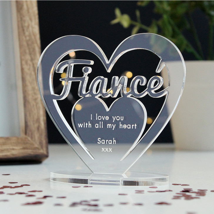 FIANCÉ Personalised Birthday HEART Plaque Gift For Him Keepsake Ornament Christmas Present