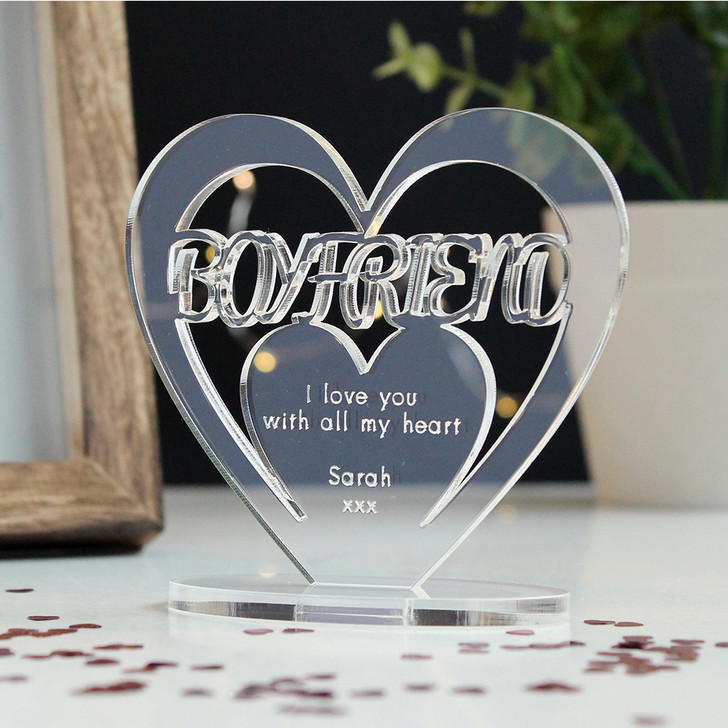 BOYFRIEND Personalised Birthday HEART Plaque Gift For Him Keepsake Ornament Christmas Present
