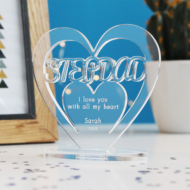 STEP DAD Personalised Birthday HEART Plaque Gift For Him Keepsake Ornament Christmas Present