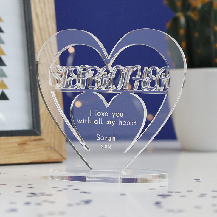 STEP BROTHER Personalised Birthday HEART Plaque Gift For Him Keepsake Ornament Christmas Present