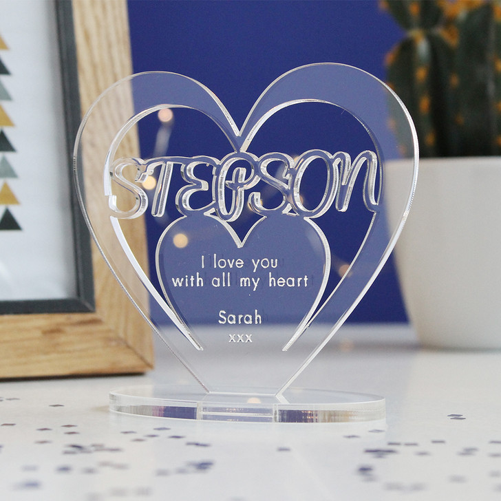 STEP SON Personalised Birthday HEART Plaque Gift For Him Keepsake Ornament Christmas Present