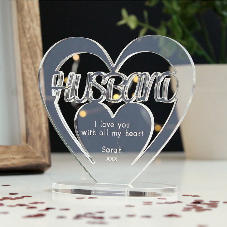 HUSBAND Personalised Birthday HEART Plaque Gift For Him Keepsake Ornament Christmas Present