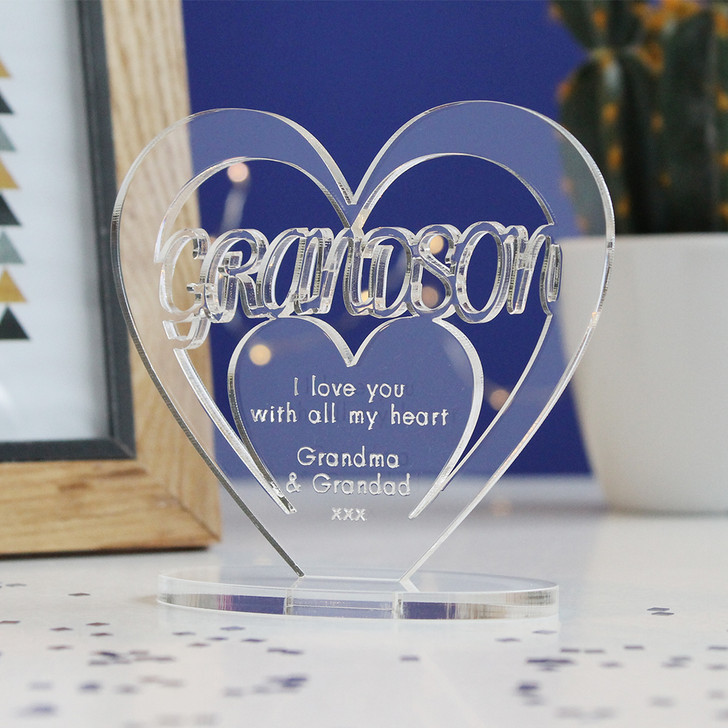 GRAND SON Personalised Birthday HEART Plaque Gift For Him Keepsake Ornament Christmas Present