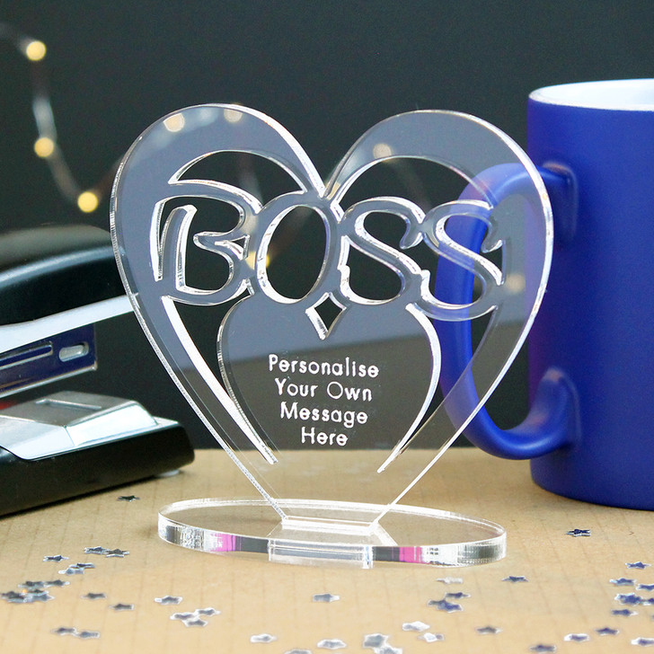 BOSS Personalised Birthday HEART Plaque Gift For Him Keepsake Ornament Christmas Present