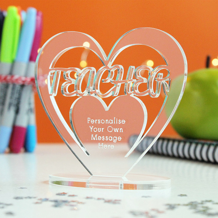 TEACHER Personalised Thank You HEART Plaque Gift Keepsake Ornament Christmas Present