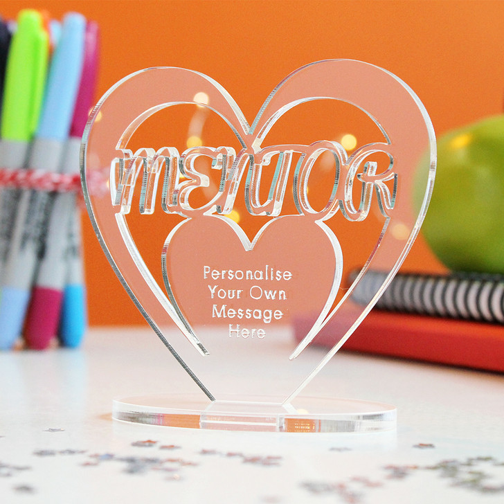MENTOR Personalised Thank You HEART Plaque Gift Keepsake Ornament Christmas Present