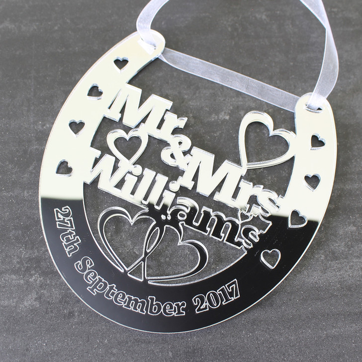 Personalised Lucky Wedding Horseshoe Mr & Mrs Surname and Date - Wedding or Anniversary Gift