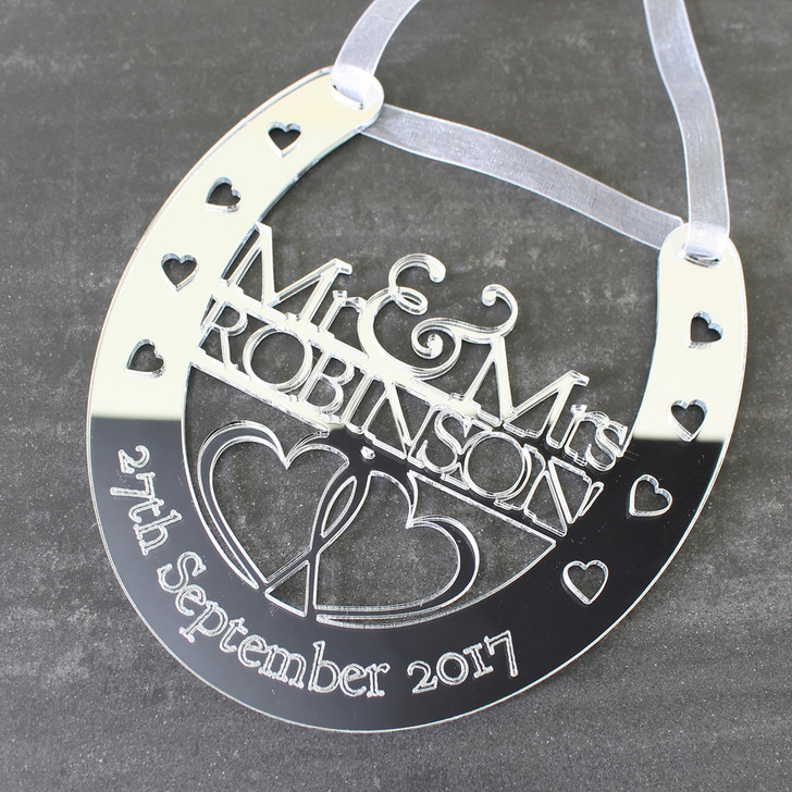 Personalised Mirrored Wedding Horseshoe Mr & Mrs Surname and Date - Wedding or Anniversary Gift
