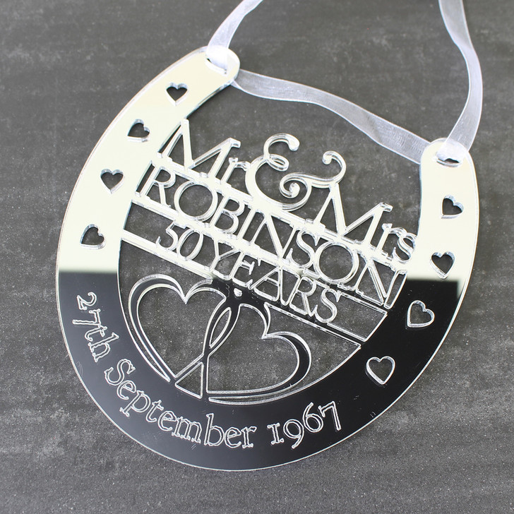 Personalised Silver Mirror Anniversary Horseshoe Mr & Mrs Surname and Date - Couples Anniversary Gift