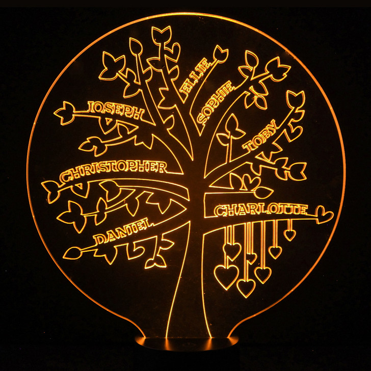 Family Tree Light Up Lamp, Personalise with Up To 12 Names - 16 Colour Options