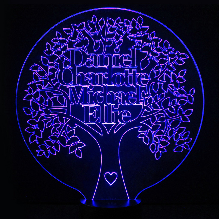 Family Tree Light Up Lamp, Personalise with Up To 6 Names - 16 Colour Options