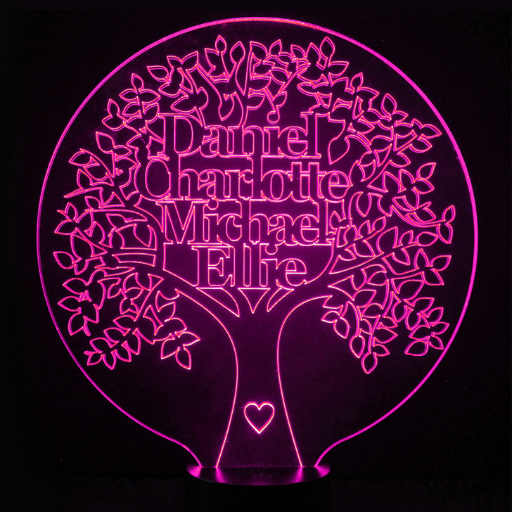 Personalised Family Tree Illuminated Night Lamp, Colour Changing Light, Anniversary, Birthday or Christmas Gift