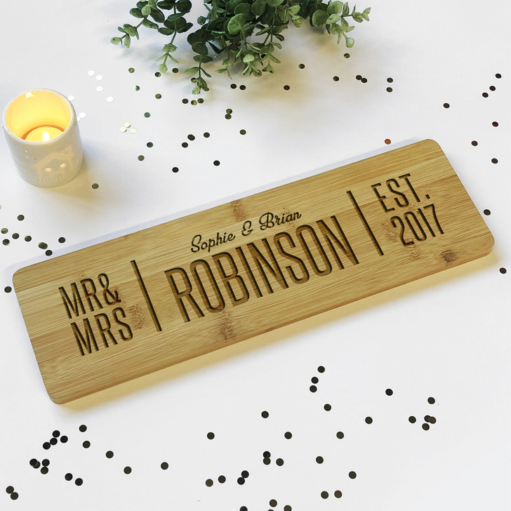 Mr & Mrs Surname Est. Wooden Plaque Sign with Names