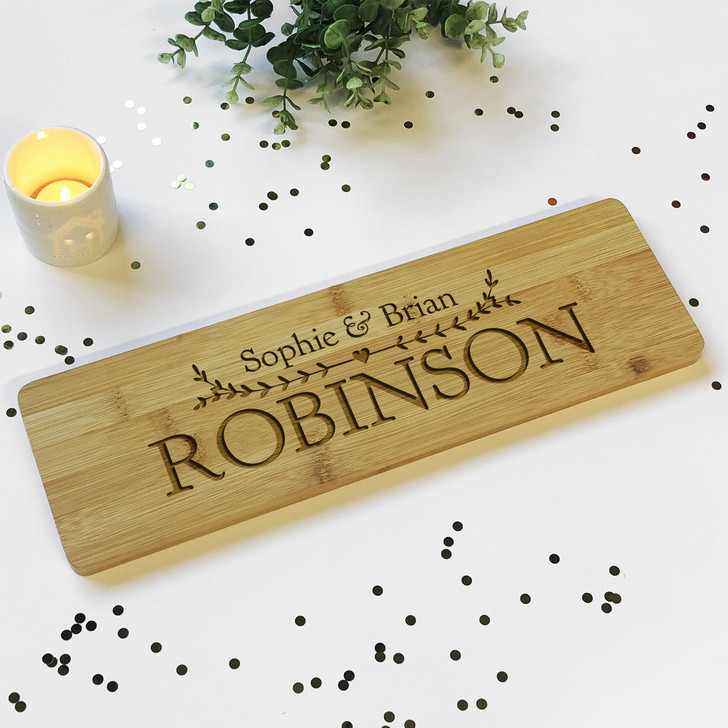 Couples Surname Est. Wooden Plaque Sign with Names