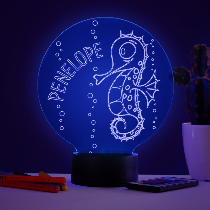 Personalised Seahorse Night Light, Colour Changing Lamp For Kids Bedroom