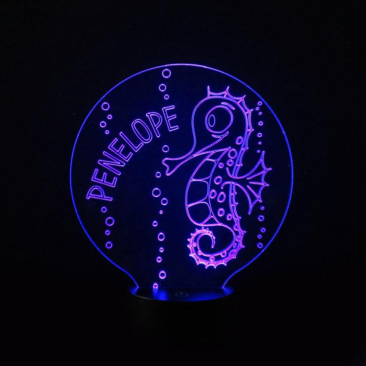 Seahorse Kids Bedroom Personalised LED Night Light