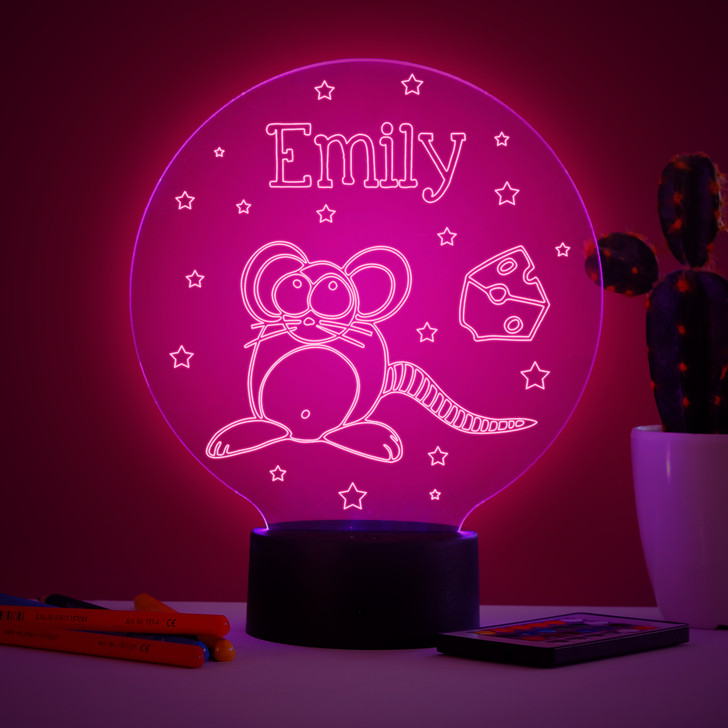 Personalised Mouse Night Light, Colour Changing Lamp For Kids Bedroom