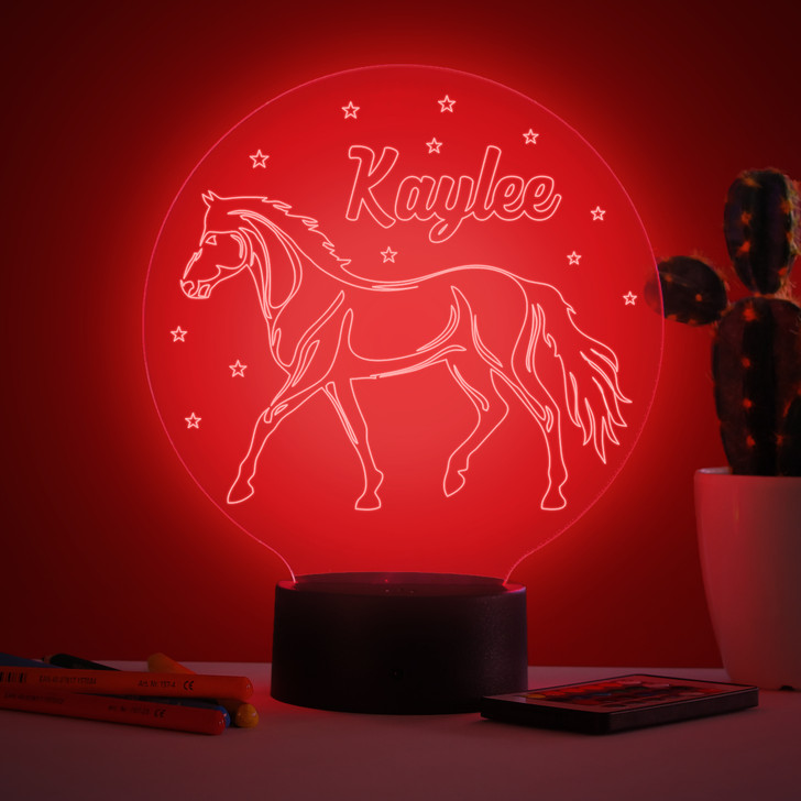 Personalised Horse Riding Night Light, Colour Changing Lamp For Kids Bedroom