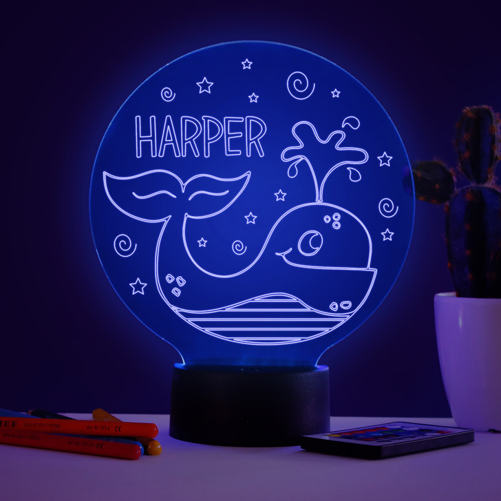 Personalised Whale Night Light, Colour Changing Lamp For Kids Bedroom