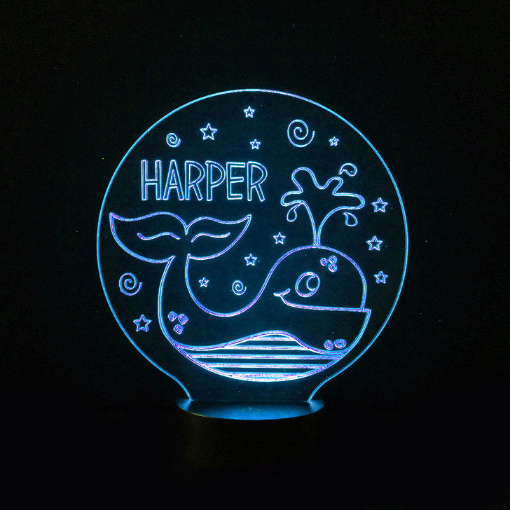 Whale Kids Bedroom Personalised LED Night Light