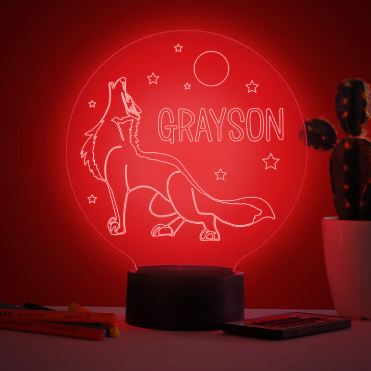 Personalised Wolf Night Light, Colour Changing Lamp For Kids Bedroom