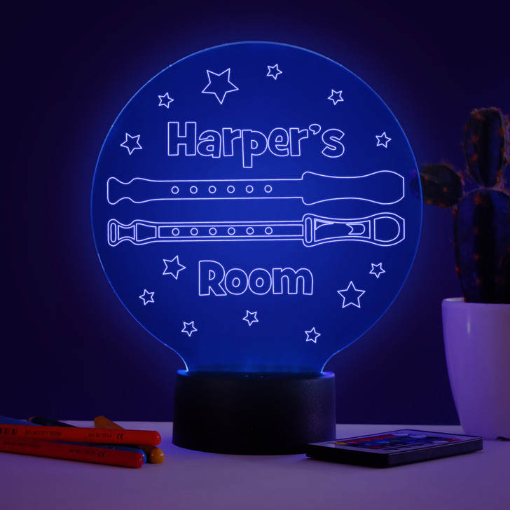Personalised Recorder Night Light, Colour Changing Musical Instrument Lamp For Kids Bedroom