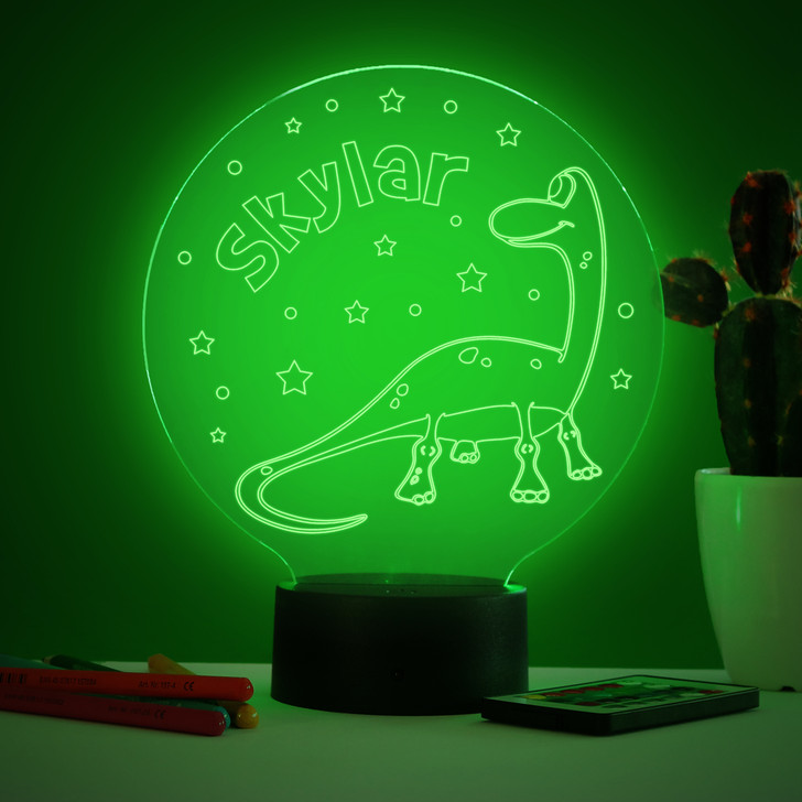 Personalised Dinosaur Night Light, Colour Changing Dinosaur Lamp For Kids Bedroom
