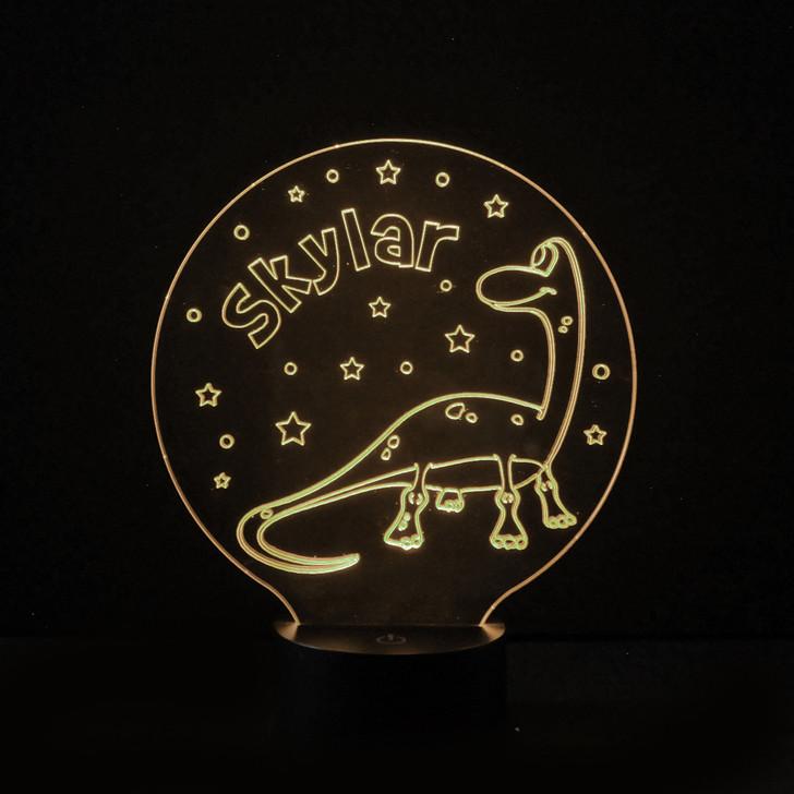 Dinosaur Kids Bedroom Personalised LED Night Light