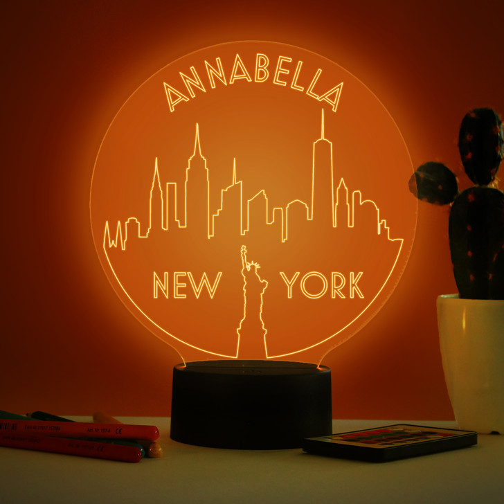 Personalised New York Skyline Night Light, Colour Changing Lamp For Kids Bedroom