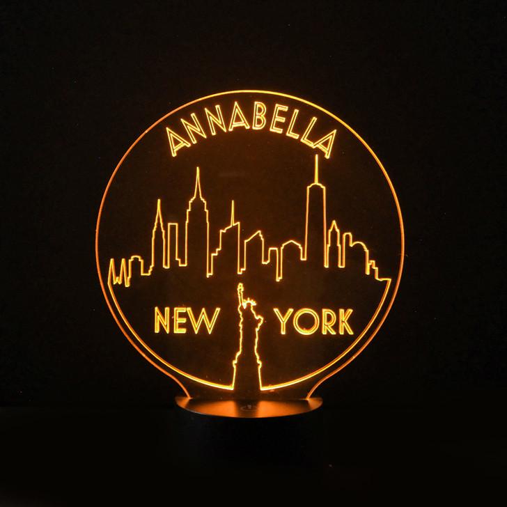 New York Skyline Kids Bedroom Personalised LED Night Light