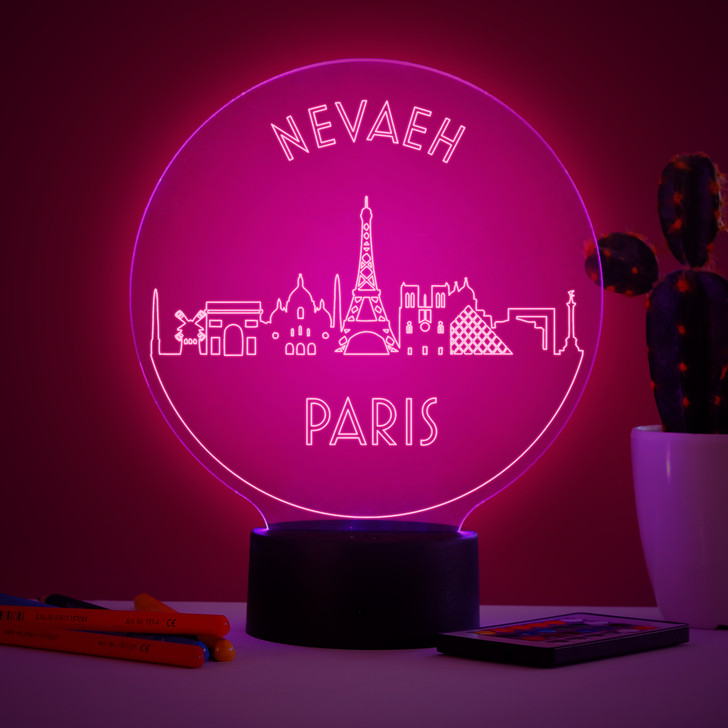 Personalised Paris Skyline Night Light, Colour Changing Lamp For Kids Bedroom
