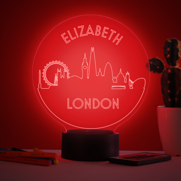 Personalised London Skyline Night Light, Colour Changing Lamp For Kids Bedroom