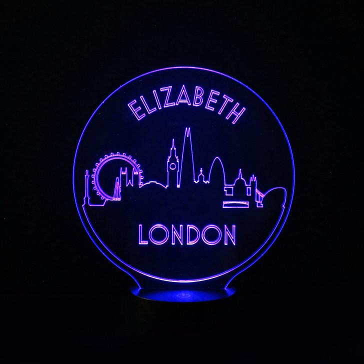 London Skyline Kids Bedroom Personalised LED Night Light