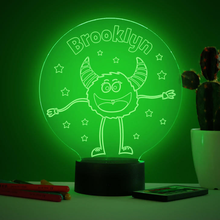 Personalised Friendly Monster Night Light, Colour Changing Lamp For Kids Bedroom