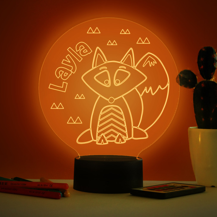 Personalised Fox Night Light, Colour Changing Lamp For Kids Bedroom