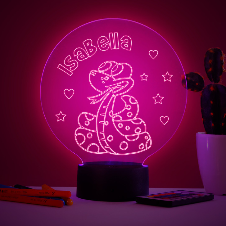 Personalised Cartoon Snake Night Light, Colour Changing Lamp For Kids Bedroom