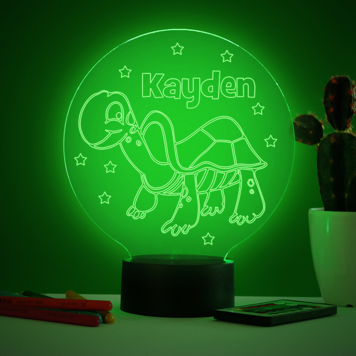 Personalised Tortoise Night Light, Colour Changing Lamp For Kids Bedroom