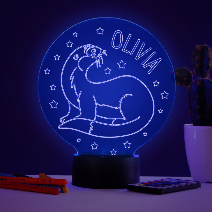 Personalised Otter Night Light, Colour Changing Lamp For Kids Bedroom