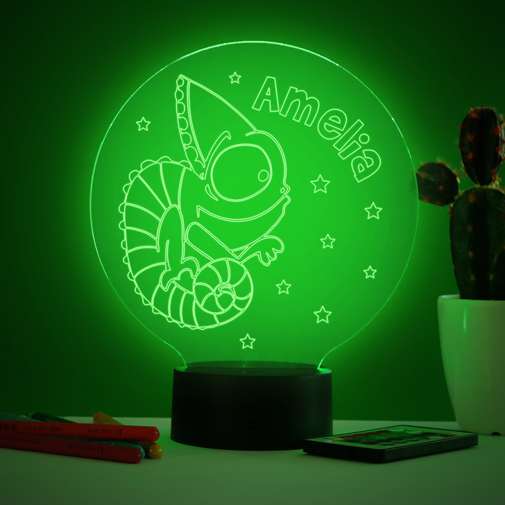 Personalised Chameleon Lizard Night Light, Colour Changing Lamp For Kids Bedroom