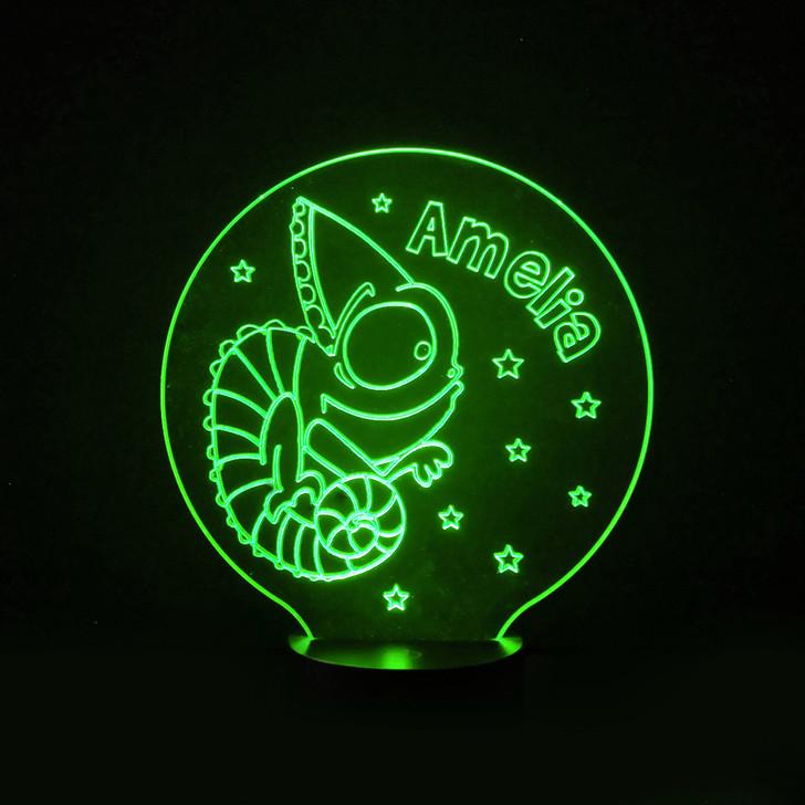 Chameleon Lizard Kids Bedroom Personalised LED Night Light