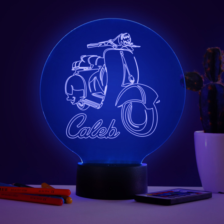Personalised Vespa Bike Night Light, Colour Changing Lamp For Kids Bedroom