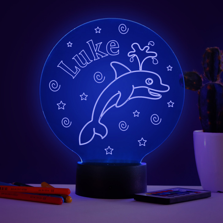 Personalised Dolphin Night Light, Colour Changing Lamp For Kids Bedroom