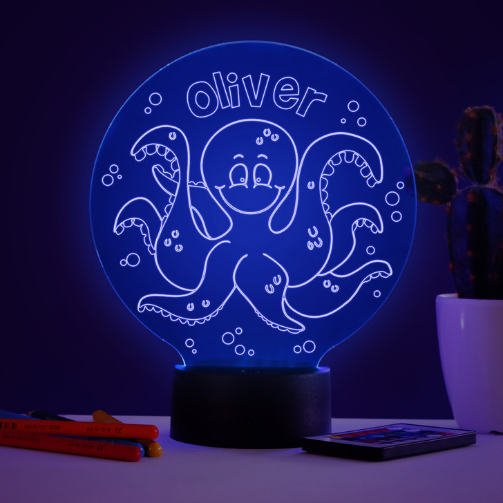 Personalised Octopus Night Light, Colour Changing Lamp For Kids Bedroom
