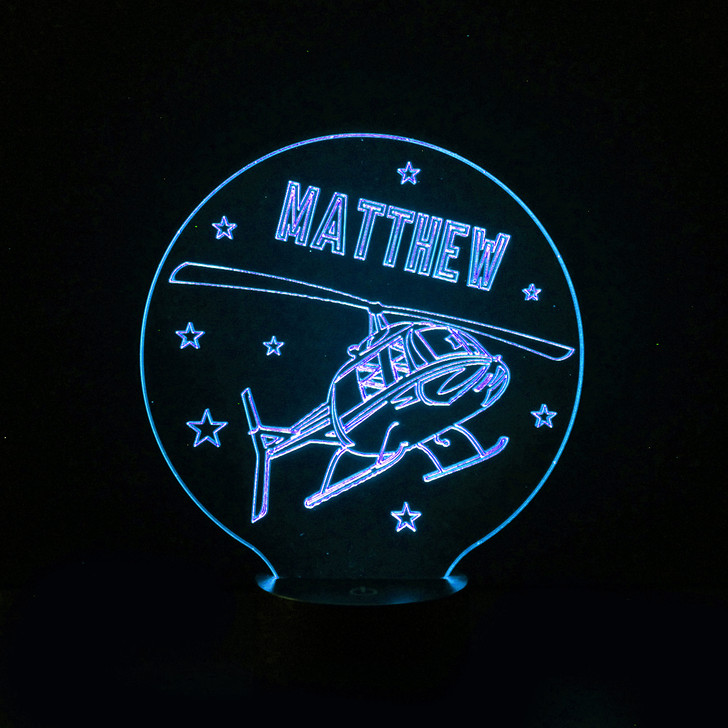 Helicopter Kids Bedroom Personalised LED Night Light