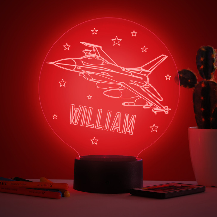 Personalised Fighter Jet Aeroplane Night Light, Colour Changing Lamp For Kids Bedroom