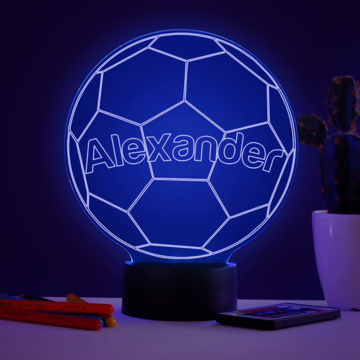Personalised Football Night Light, Colour Changing Football Lamp For Kids Bedroom