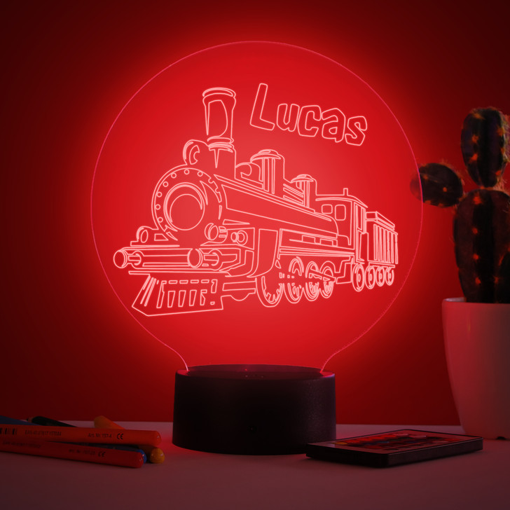 Personalised Steam Train Night Light, Colour Changing Lamp For Kids Bedroom