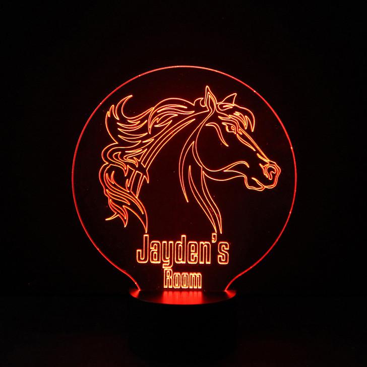 Horse Kids Bedroom Personalised LED Night Light